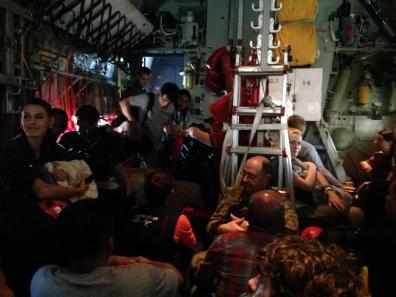 O Hércules C 130 da marinha americana que os levou para Tacloban