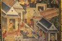Pintura na parede de Wat Pho, Bangkok, Tailândia